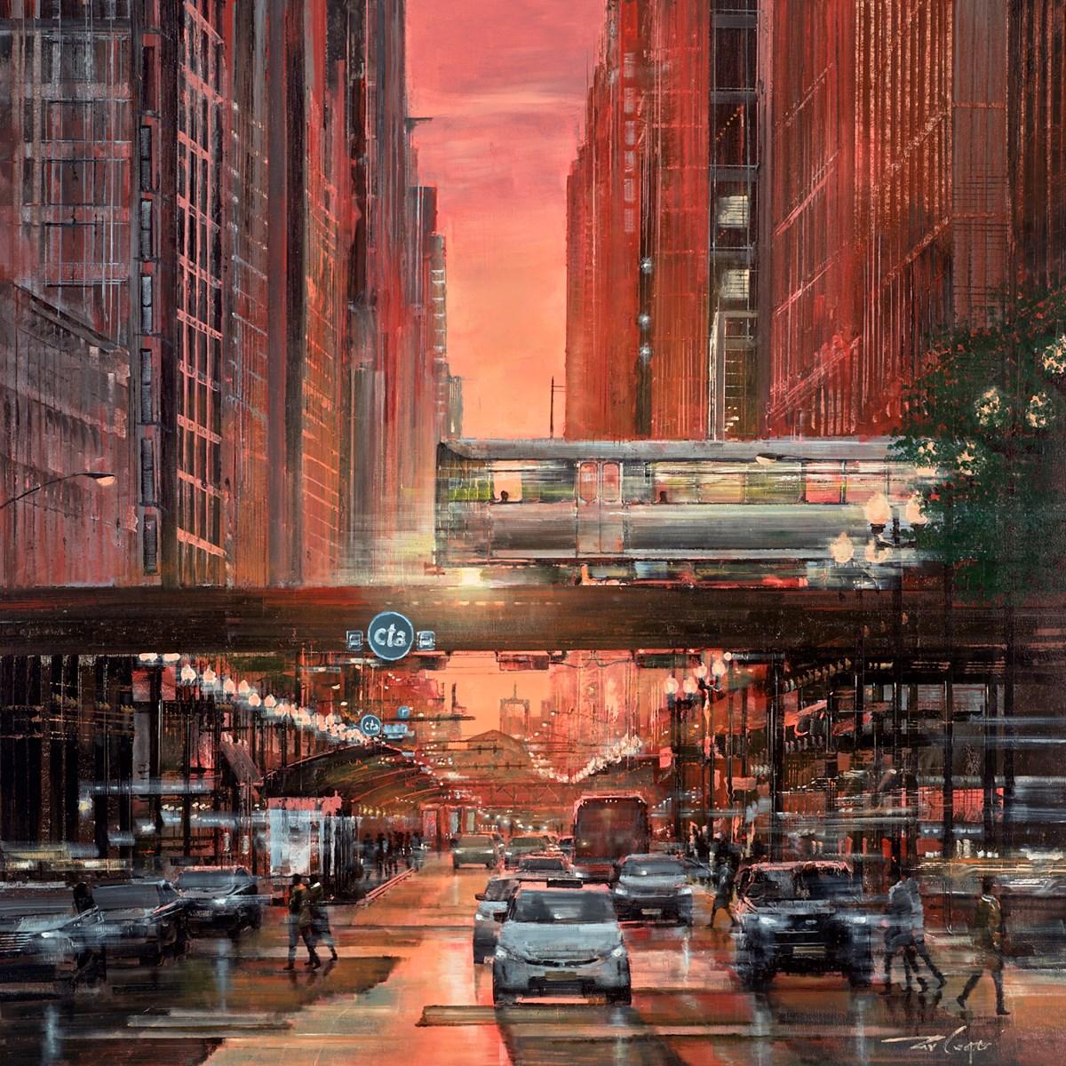Riding into the Sunset (Randolph Street Chicago)